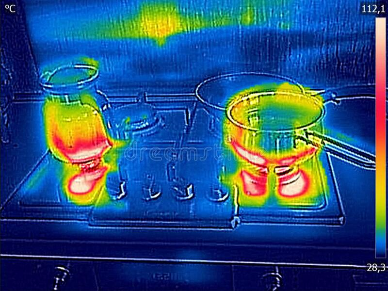 Thermal image, cooking on a gas royalty free stock photos