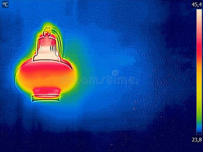 Thermal image, Lighted classic lamp stock image