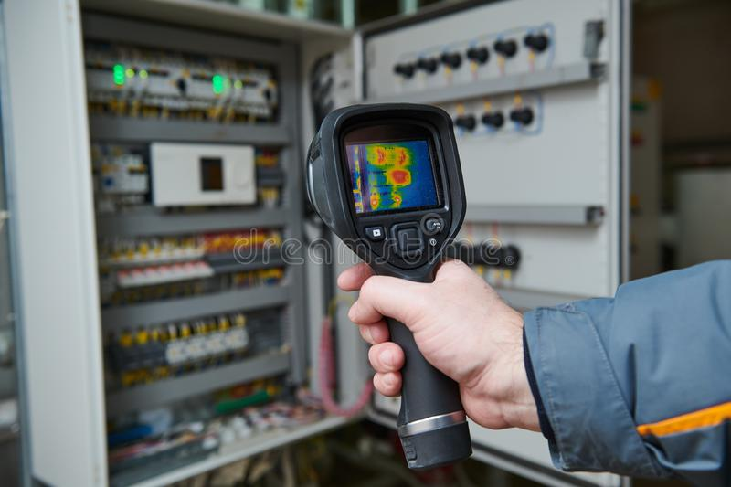 Thermal imaging inspection of electrical equipment royalty free stock images