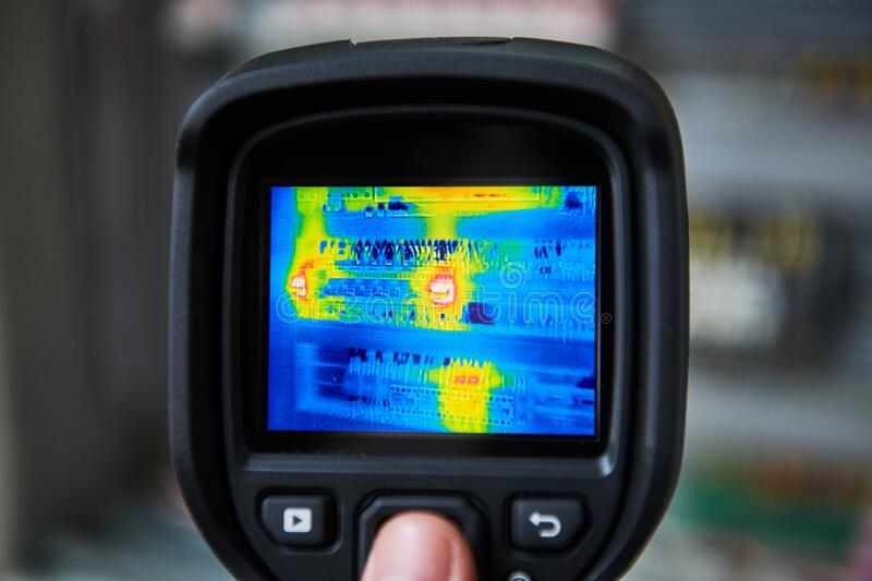 Thermal imaging inspection of electrical equipment stock image