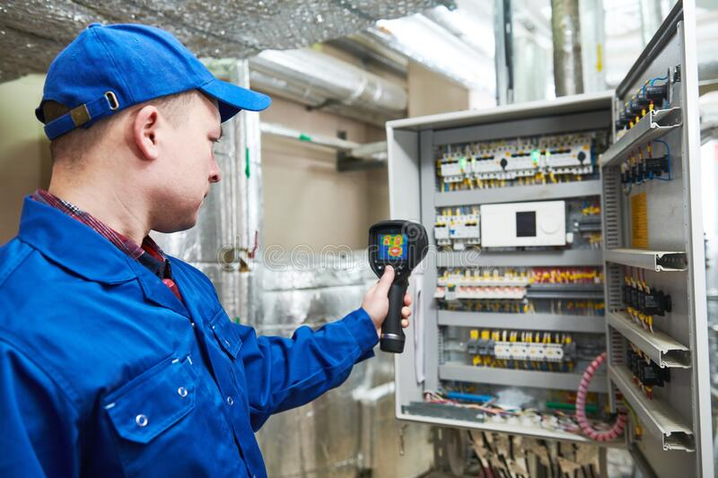 Thermal imaging inspection of electrical equipment stock photography