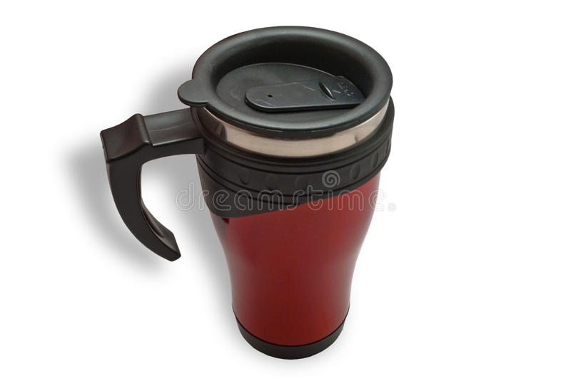 Thermal Insulated Travel Mug. On a white background stock photo