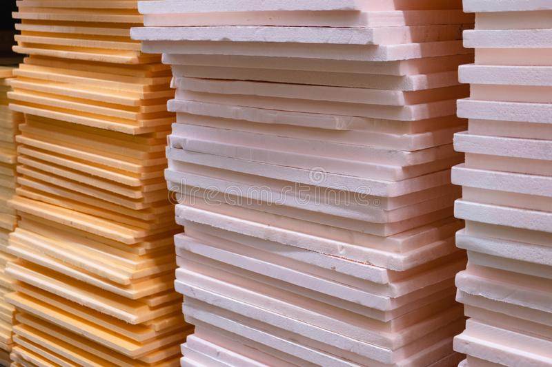 Thermal insulation panels - thermal insulation of a house.  stock photo