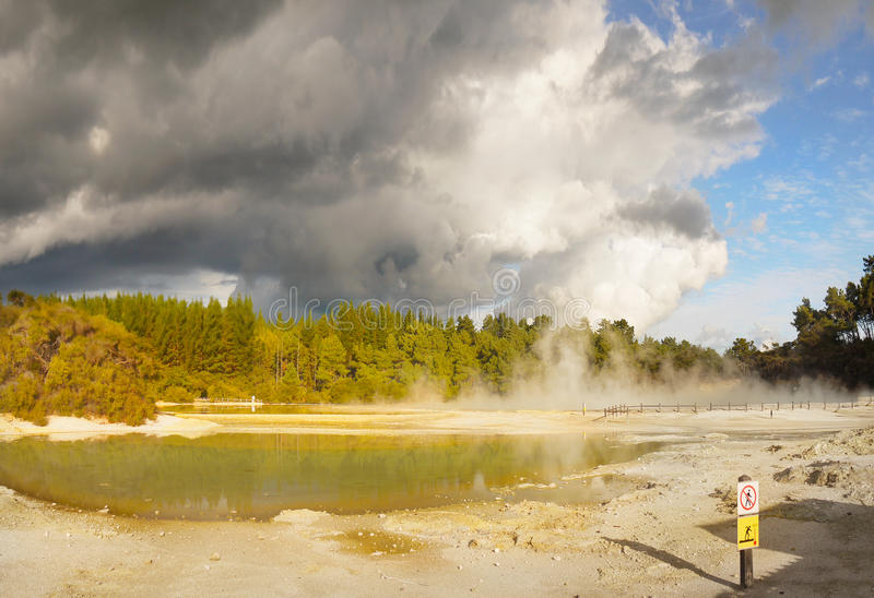 Thermal Lake, Volcanic area Rotorua, New Zealand royalty free stock photos