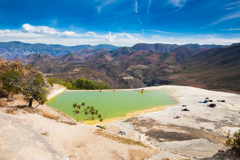 Thermal Mineral Spring Hierve el Agua in Oaxaca, Mexico. stock images