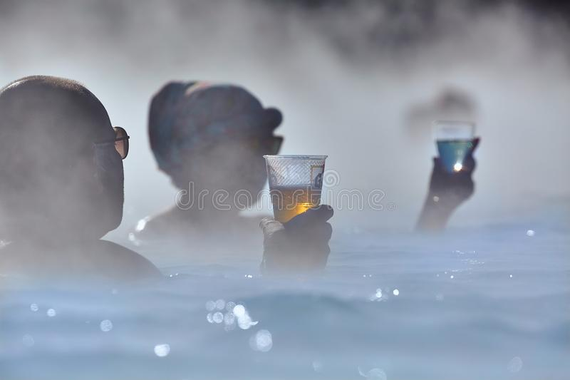 Thermal pool with hot water royalty free stock photography