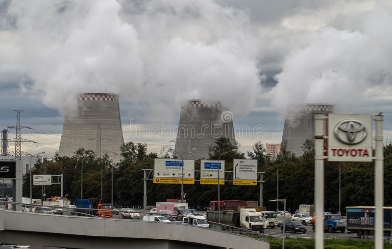 Thermal power plant in the capital of Russia - Moscow. Combined heat and power — a kind of a thermal power plant that not only produces electricity but royalty free stock photo