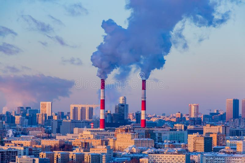 Thermal power plant in the center of Moscow in the winter evening stock photo