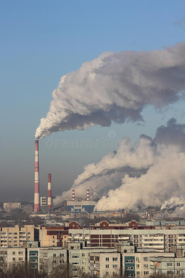 Thermal power plant exhausts fume in atmosphere royalty free stock image
