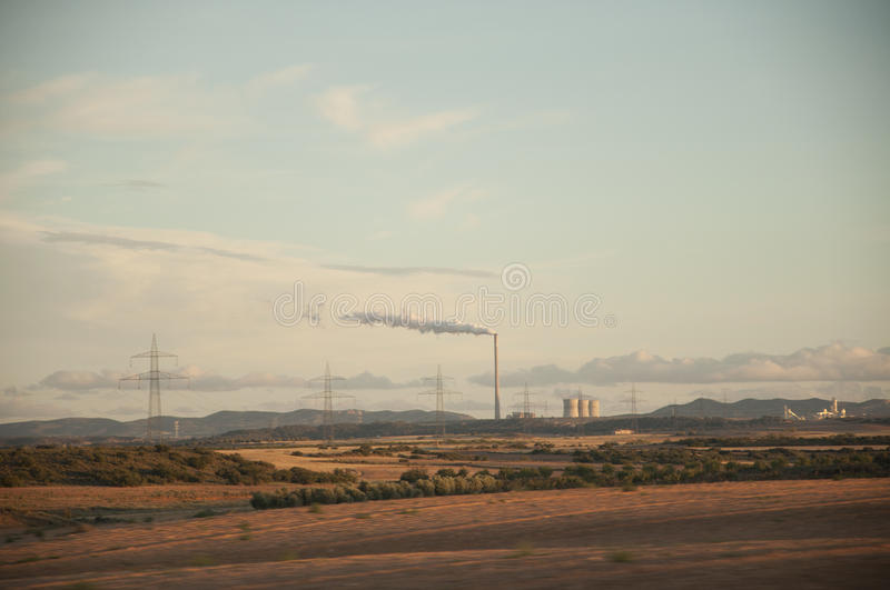 Thermal power plant generating energy. Thermal power plant generating electricity royalty free stock images