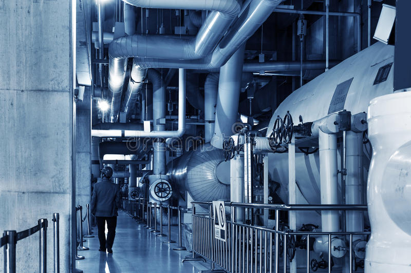 Thermal power plant piping and instrumentation. Modern factory machinery royalty free stock image