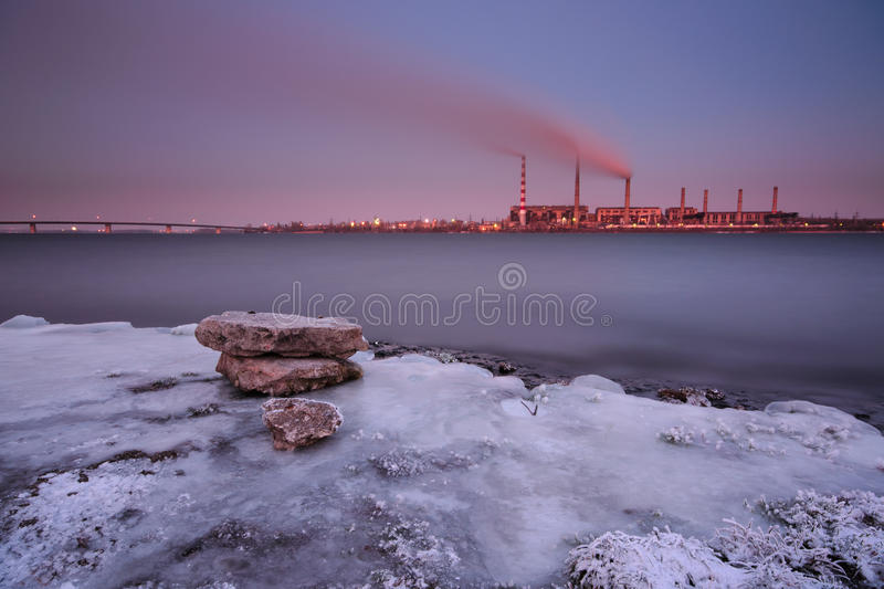 Thermal power plant in winter. Dnepropetrovsk, Ukraine stock photos