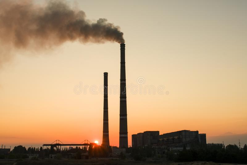 Thermal Power Station of Ukraine. One of the most powerful in Uk. Raine. Electricity production stock image