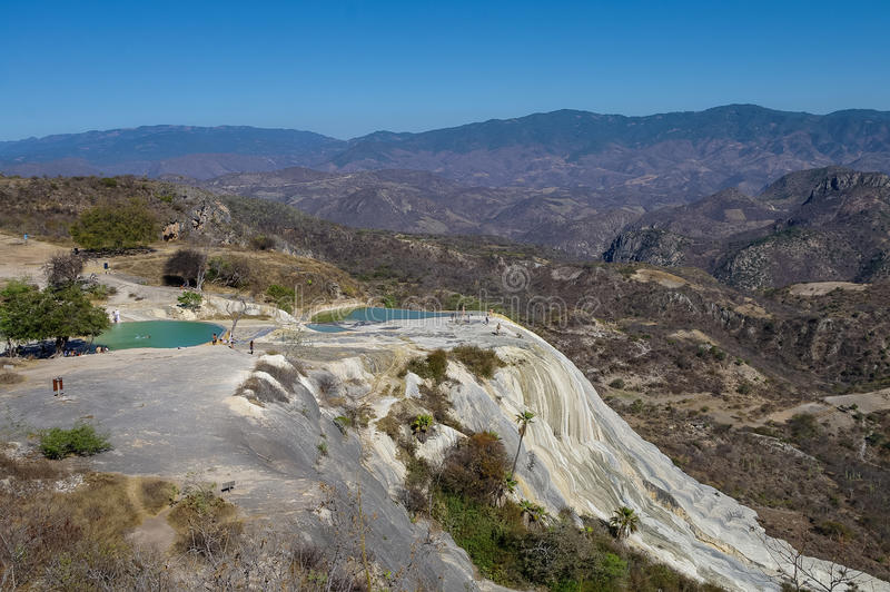 Thermal springs Hierve El Agua in Oaxaca. Is one of the most beautiful places in Mexico are high in the mountains stock image