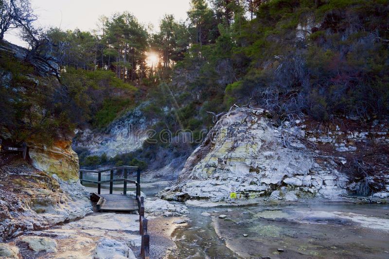 Thermal wonderland. Wai-o-Tapu in New Zealand royalty free stock photography