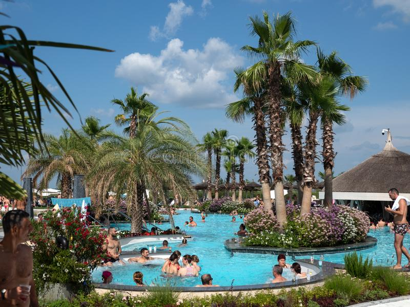 Therme Balotesti - beautiful and relaxing area near Bucharest. In a sunny day wit many people in the water stock photos