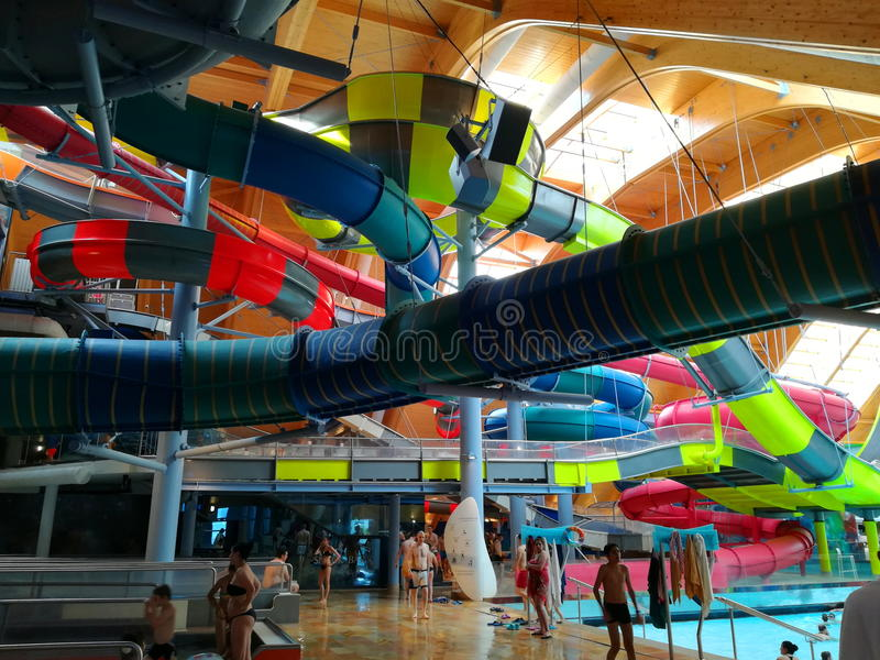 Therme Bucharest - Galaxy area. Therme Bucharest - Galaxy special area for families with indoor slides and waves pool stock image