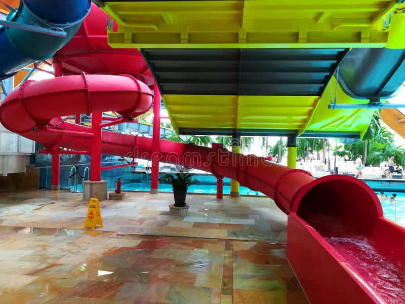 Therme Bucharest - Galaxy area. Therme Bucharest - Galaxy special area for families with indoor slides and waves pool royalty free stock images