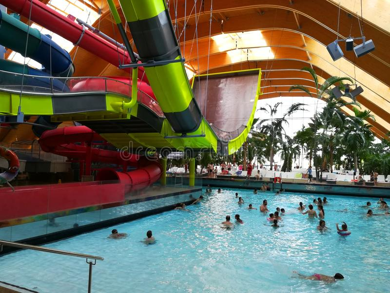 Therme Bucharest - Galaxy area. Therme Bucharest - Galaxy special area for families with indoor slides and waves pool royalty free stock photos