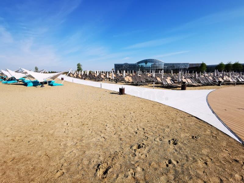 Therme Bucharest - modern beach royalty free stock photos