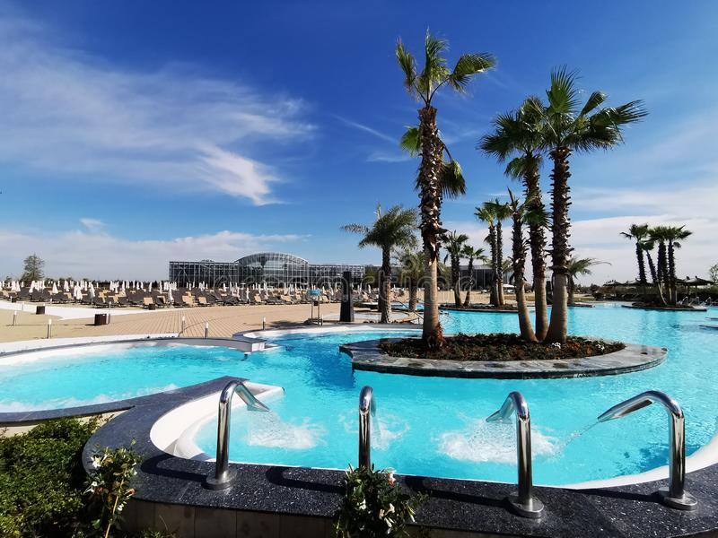 Therme Bucharest outdoor pools with thermal water royalty free stock photos