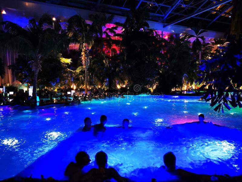 Therme Bucharest, Palm Zone indoor in the night. Therme Bucharest, Palm Zone in the night - indoor royalty free stock photos