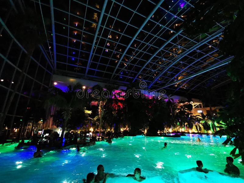 Therme Bucharest, Palm Zone indoor in the night. Therme Bucharest, Palm Zone in the night - indoor royalty free stock image
