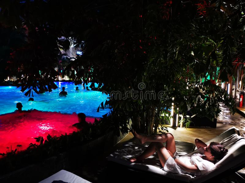 Therme Bucharest, Palm Zone indoor in the night. Therme Bucharest, Palm Zone in the night - indoor stock image