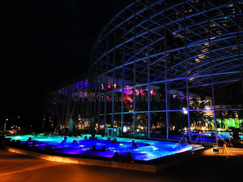 Therme Bucharest, Palm Zone outdoor in the night. Therme Bucharest, Palm Zone in the night - outdoor royalty free stock image