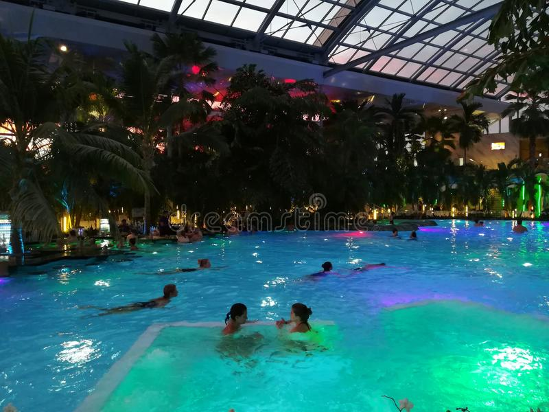 Therme Bucharest, Palm Zone in the night royalty free stock photo