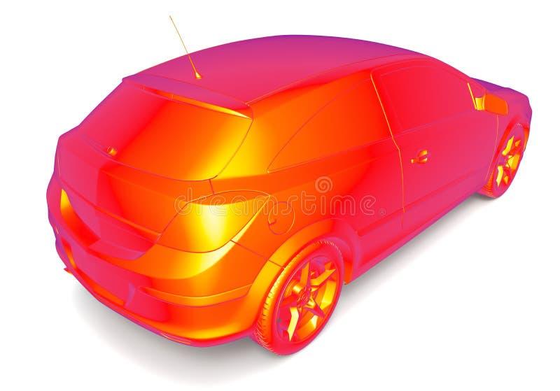 Thermisch beeld van een auto stock illustratie