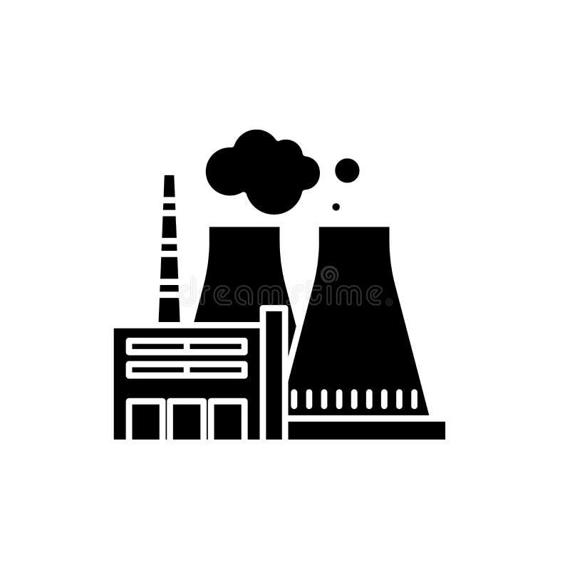 Thermisch elektrische centrale zwart pictogram, vectorteken op geïsoleerde achtergrond Het thermische symbool van het elektrische vector illustratie