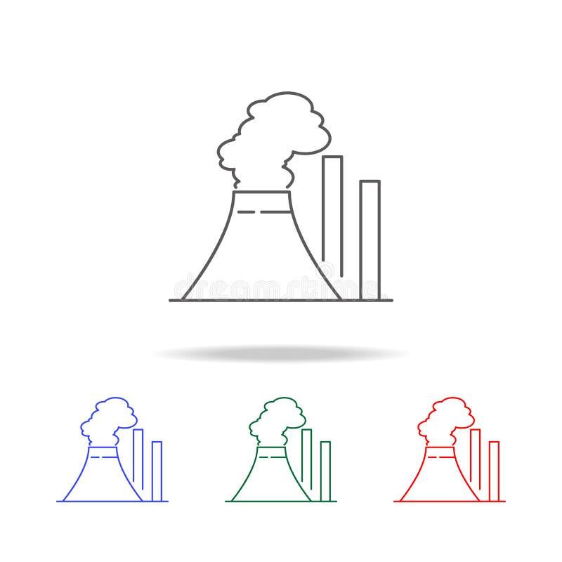 thermisch elektrische centralepictogram Elementen in multi gekleurde pictogrammen voor mobiel concept en Web apps De pictogrammen stock illustratie