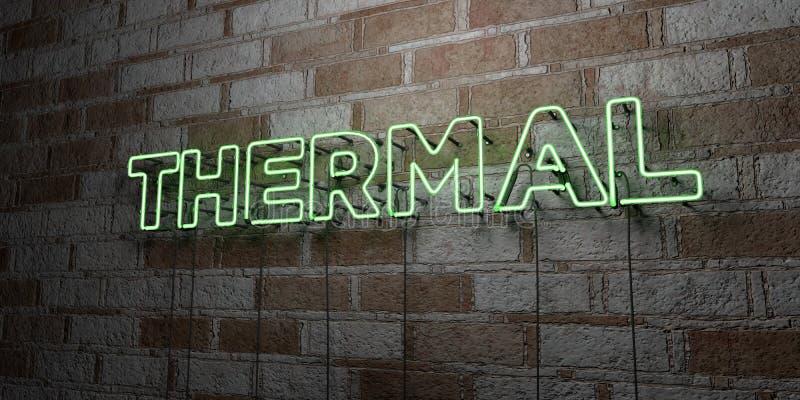 THERMISCH - Gloeiend Neonteken op metselwerkmuur - 3D teruggegeven royalty vrije voorraadillustratie vector illustratie