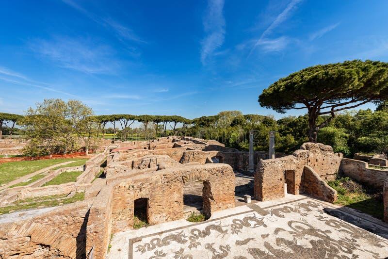 Thermische baden van Neptunus in Ostia Antica - Rome Itali? stock foto