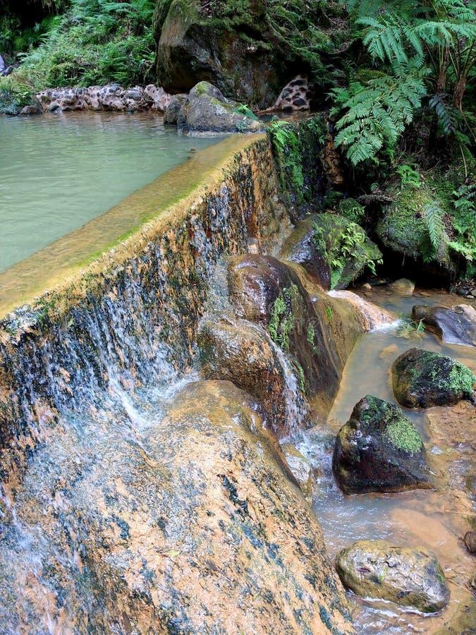 Thermische pools Caldeira Velha, Sao Miguel, de Azoren, stock foto