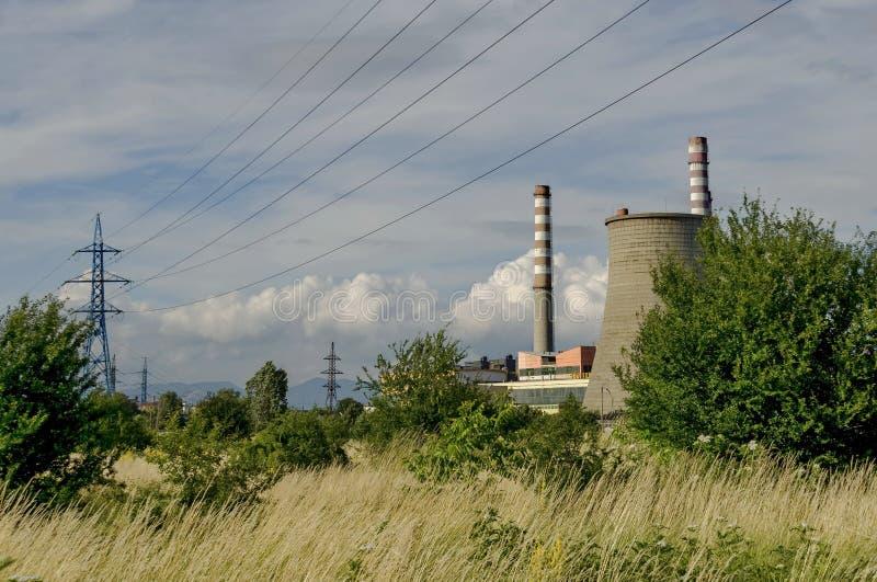 Thermo-elektrische elektrische centrale Sofia Iztok stock afbeeldingen