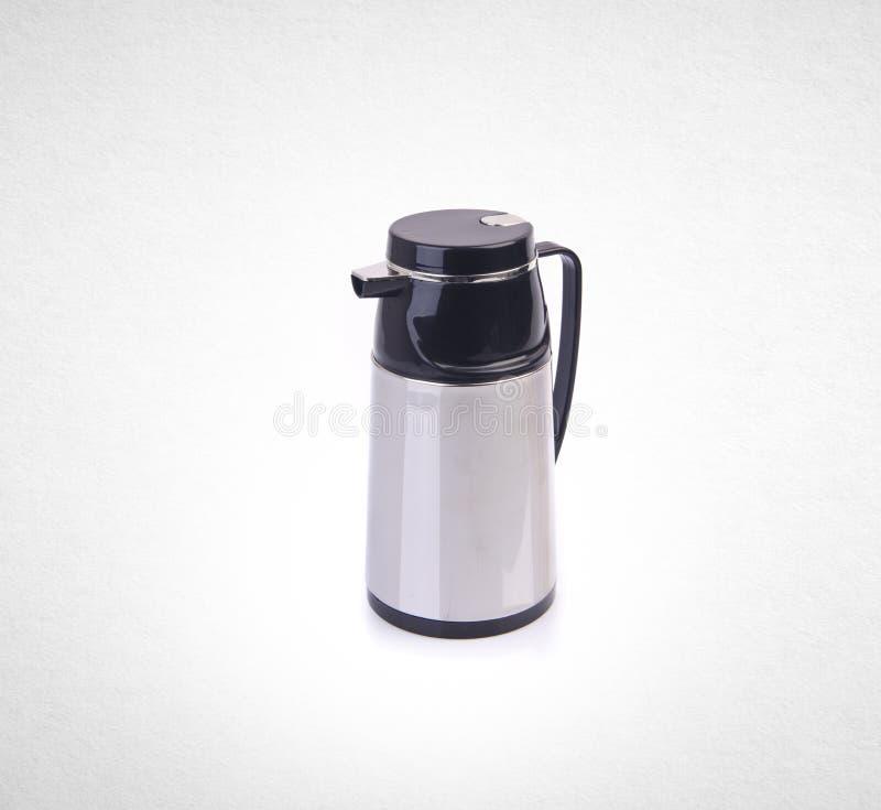 Thermo eller Thermo flaska från rostfri stee på bakgrund arkivbild