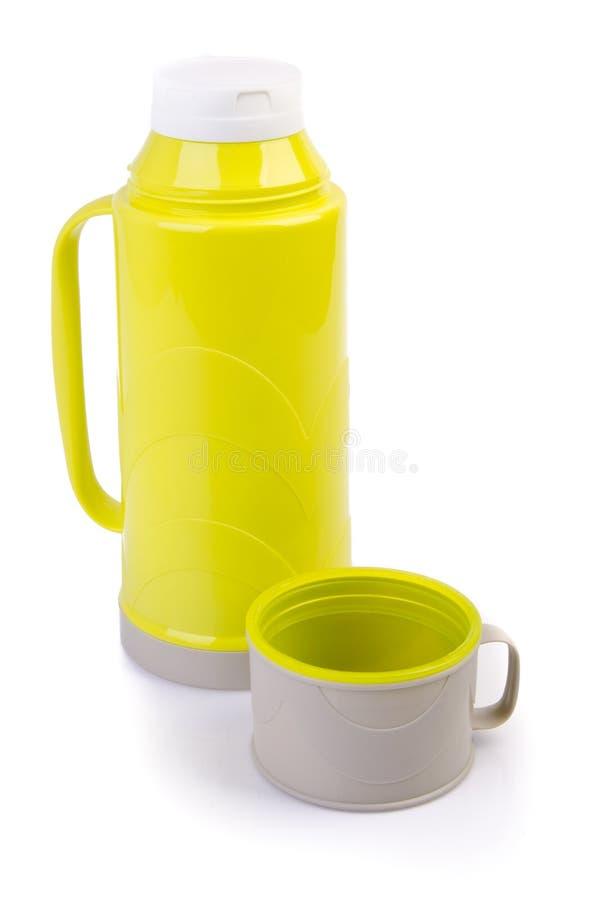 Thermo Flasche auf Hintergrund stockbild