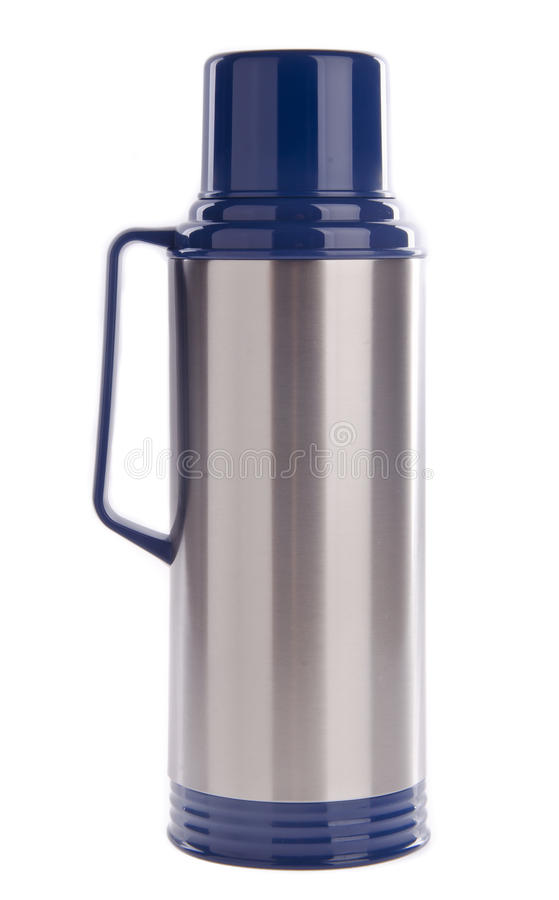 Thermo Flasche auf Hintergrund stockfoto