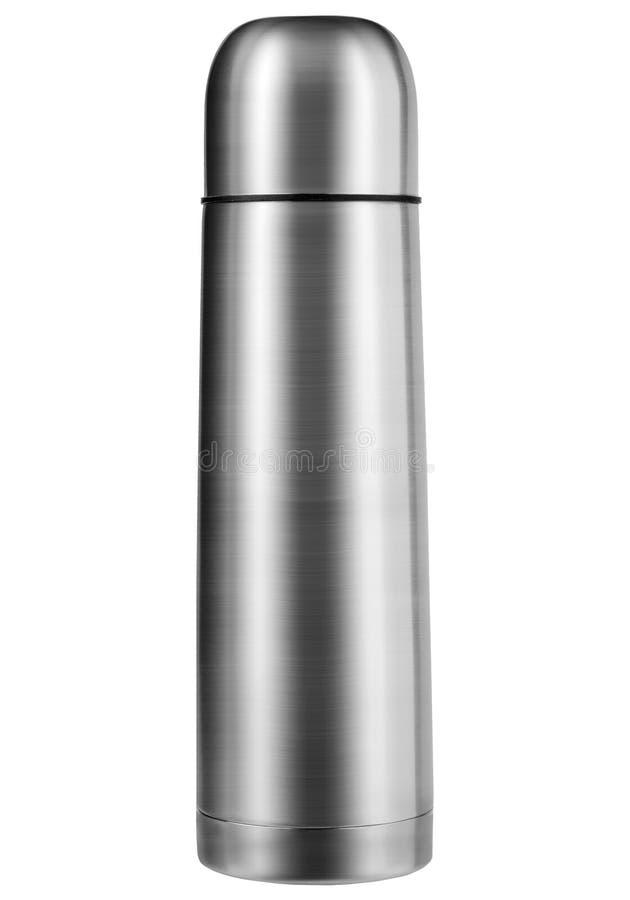 Thermo Flasche lokalisiert auf dem weißen Hintergrund stockfoto
