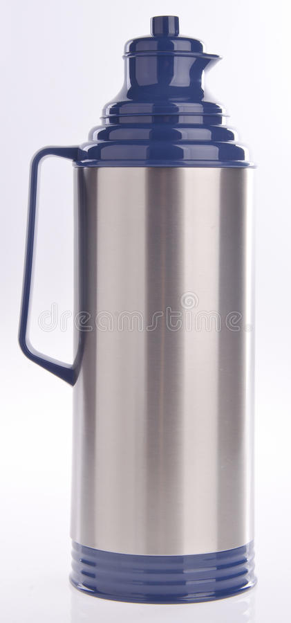 Thermo flask on background. Thermo flask on the white background stock photos