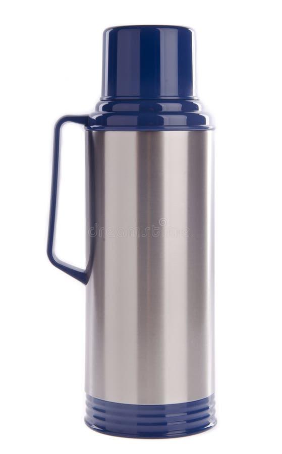 Thermo flaska på bakgrund arkivfoto