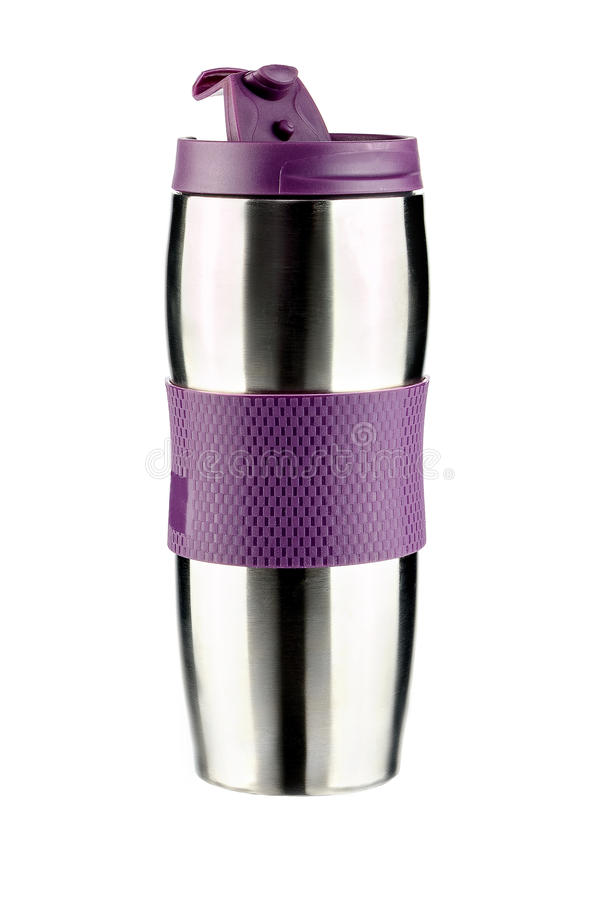 Thermo kopp med lilaklippning royaltyfri bild