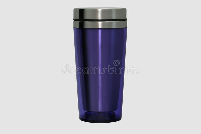 Thermo mug made of stainless steel, purple, isolate on white. stock images