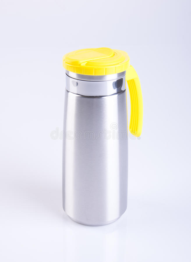 Thermo or Thermo flask from stainless stee on background. stock photography