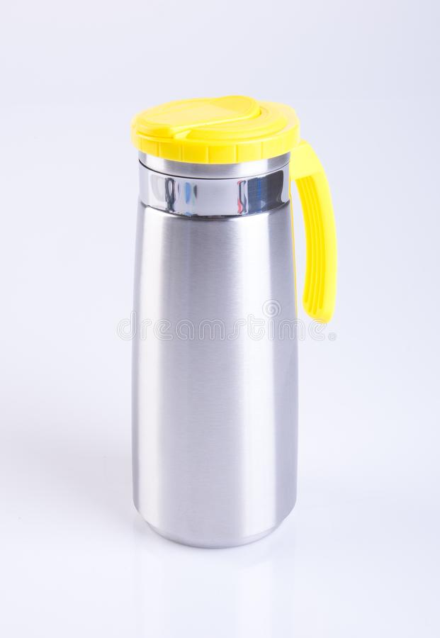 Thermo or Thermo flask from stainless stee on background. royalty free stock images