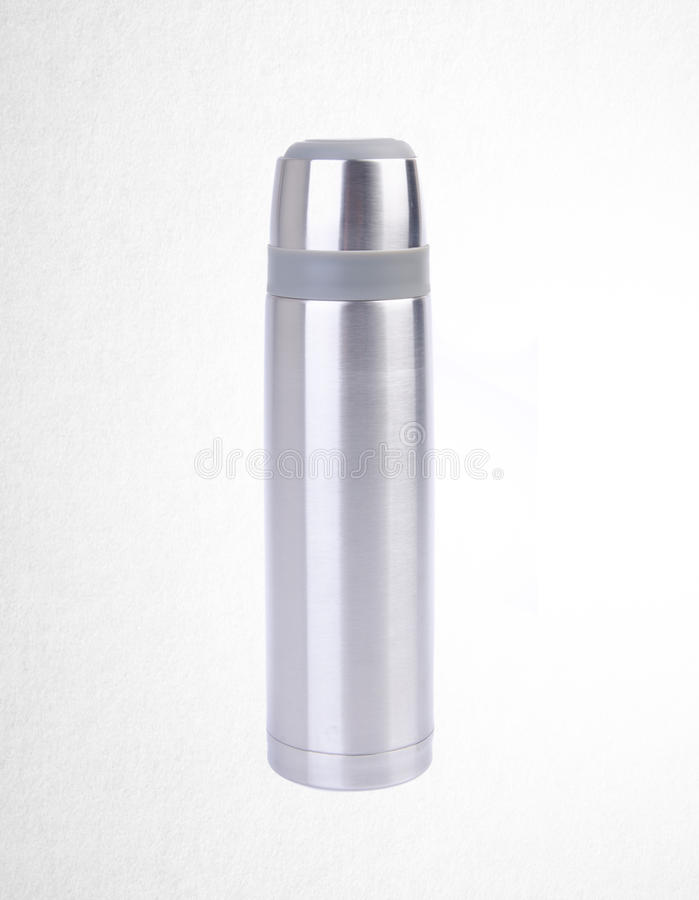 Thermo or Thermo flask from stainless stee on background. Thermo or Thermo flask from stainless stee on background stock photography
