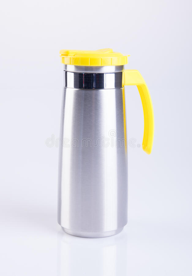 Thermo or Thermo flask from stainless stee on background. Thermo or Thermo flask from stainless stee on background stock photo
