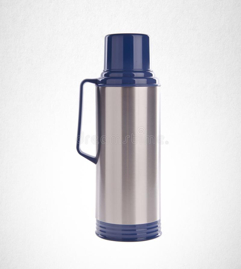 Thermo or Thermo flask from stainless stee on background. royalty free stock photography